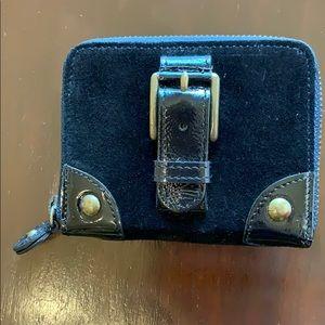 J Crew Suede Black Card Case/Wallet